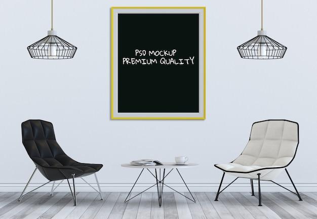 Verspotten sie herauf plakatrahmen im innenwohnzimmer und im stuhl, 3d übertragen Premium PSD