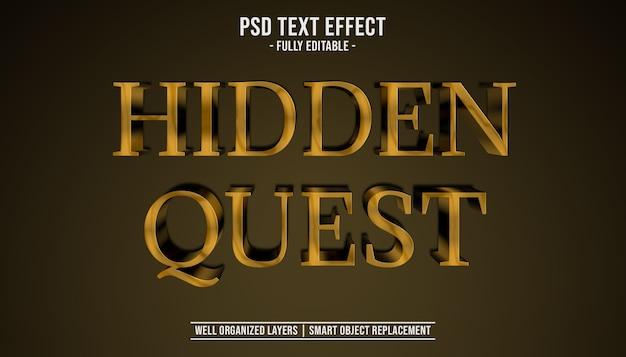 Versteckte quest 3d texteffektschablone Premium PSD