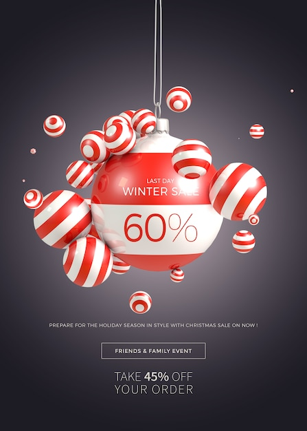 Vertikale fahnen- oder plakatschablone des weihnachtsverkaufs Premium PSD