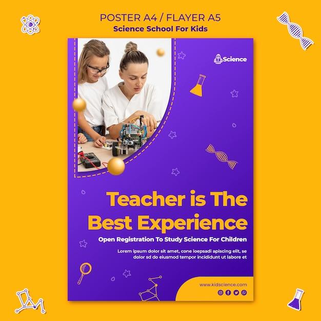 Vertikale flyer-vorlage für wissenschaftsschule für kinder Kostenlosen PSD