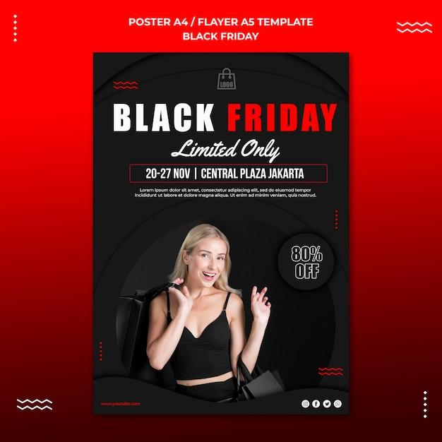 Vertikale plakatschablone für schwarzen freitag-verkauf Kostenlosen PSD