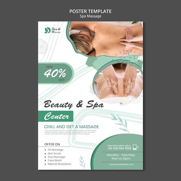 Vertikale plakatschablone für spa-massage mit frau Premium PSD