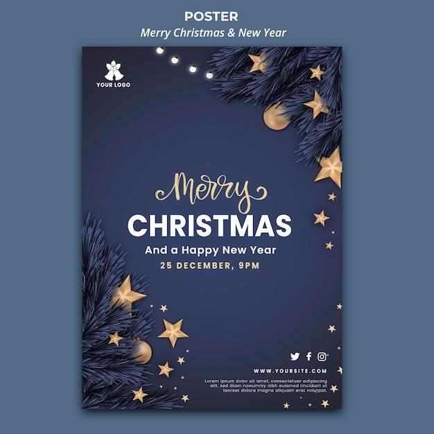 Vertikale plakatschablone für weihnachten und neujahr Kostenlosen PSD
