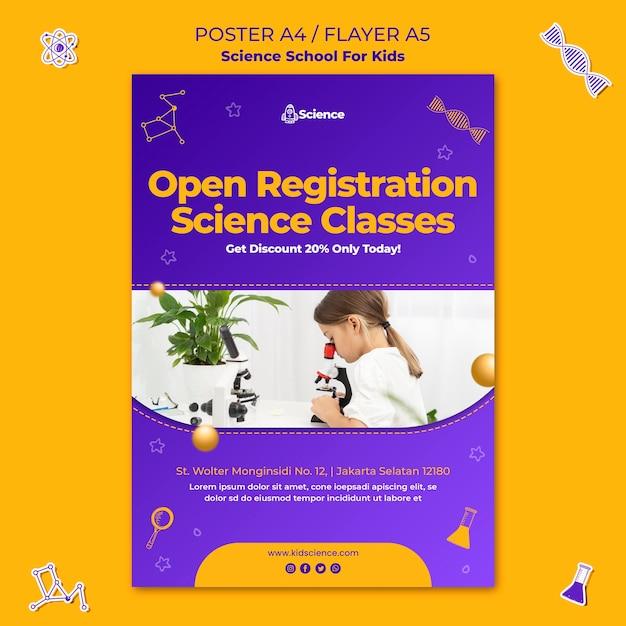 Vertikale plakatschablone für wissenschaftsschule für kinder Premium PSD