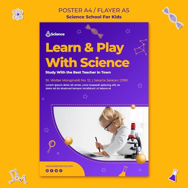 Vertikale plakatschablone für wissenschaftsschule für kinder Kostenlosen PSD