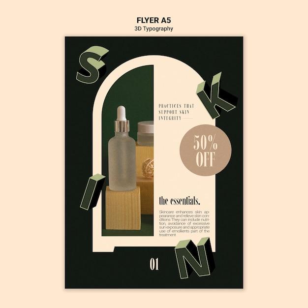 Vertikaler flyer für die anzeige von flaschen mit ätherischen ölen mit dreidimensionalen buchstaben Kostenlosen PSD
