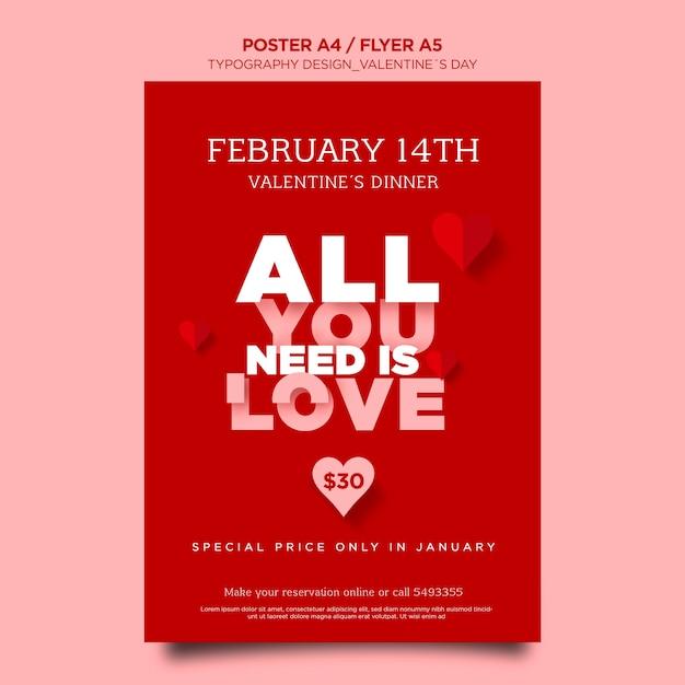 Vertikaler flyer zum valentinstag mit herzen Kostenlosen PSD