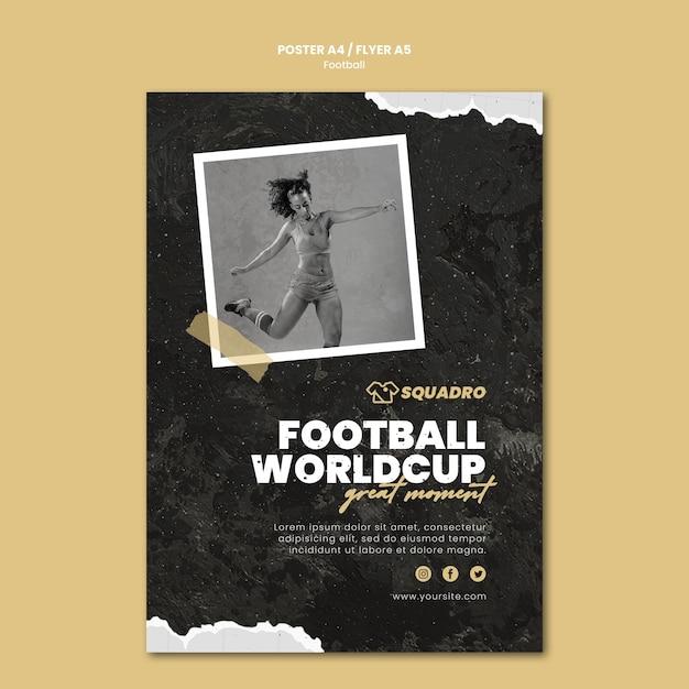 Vertikales plakat für fußballspielerin Kostenlosen PSD
