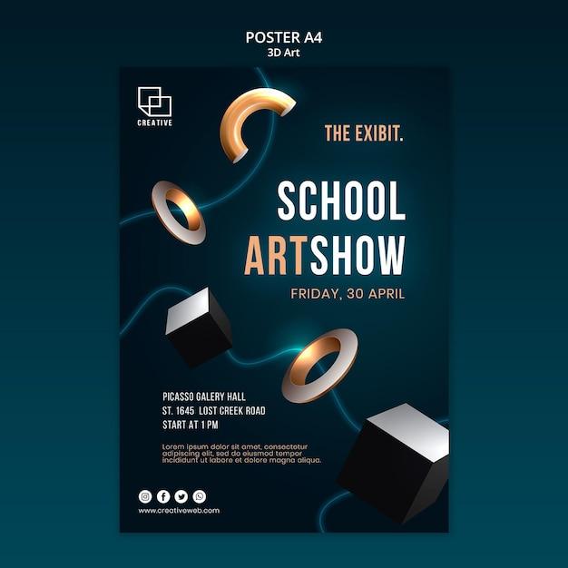 Vertikales plakat für kunstausstellung mit kreativen dreidimensionalen formen Kostenlosen PSD