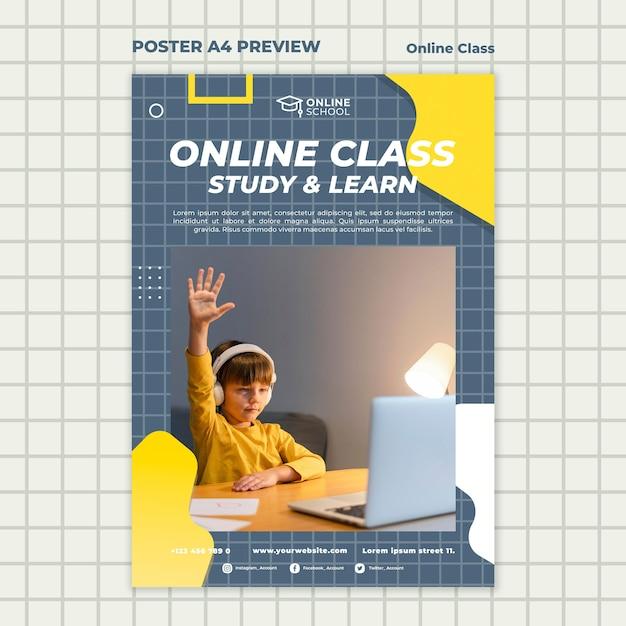 Vertikales plakat für online-klassen mit kind Kostenlosen PSD