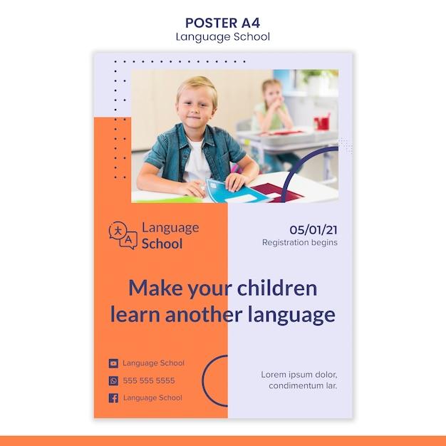 Vertikales plakat für sprachschule Kostenlosen PSD