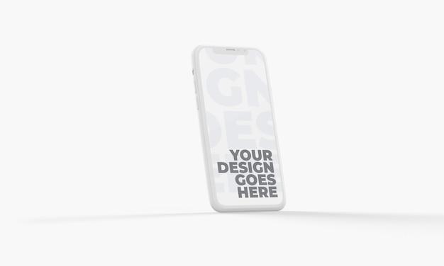 Vertikales weißes ton-3d-smartphone-modell isoliert Premium PSD