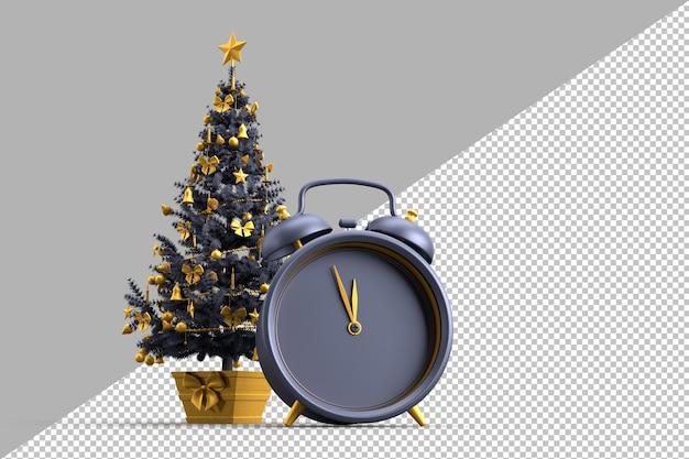 Verzierter weihnachtsbaum und wecker Premium PSD