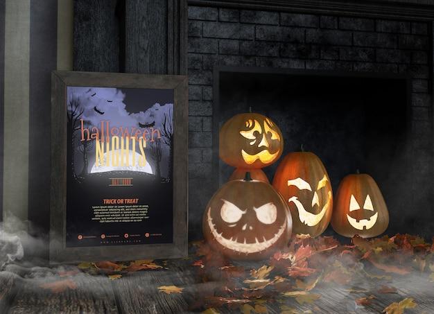 Vielzahl von lustigen geschnitzten kürbisgesichtern und von halloween-nachtrahmenmodell Kostenlosen PSD