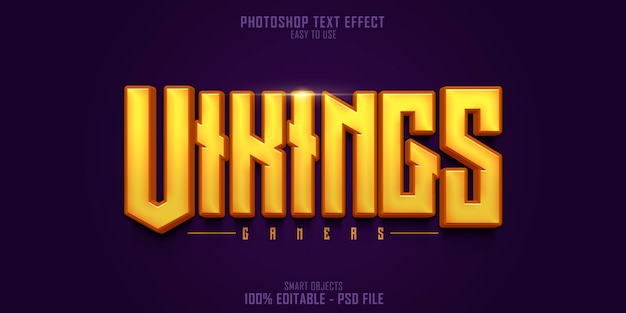 Vikings gamers 3d-textstil-effektvorlage Premium PSD
