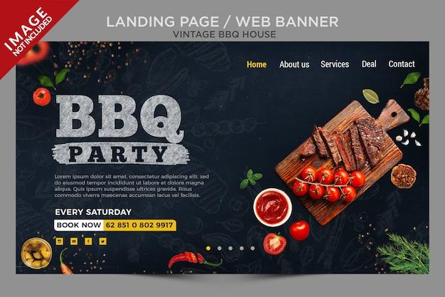 Vintage bbq house landing page oder web banner serie Premium PSD