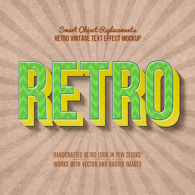 Vintage retro-texteffekt Premium PSD