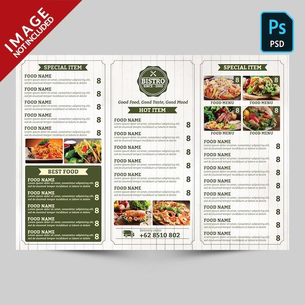 Vintage trifold restaurant menu promotion rückseite Premium PSD