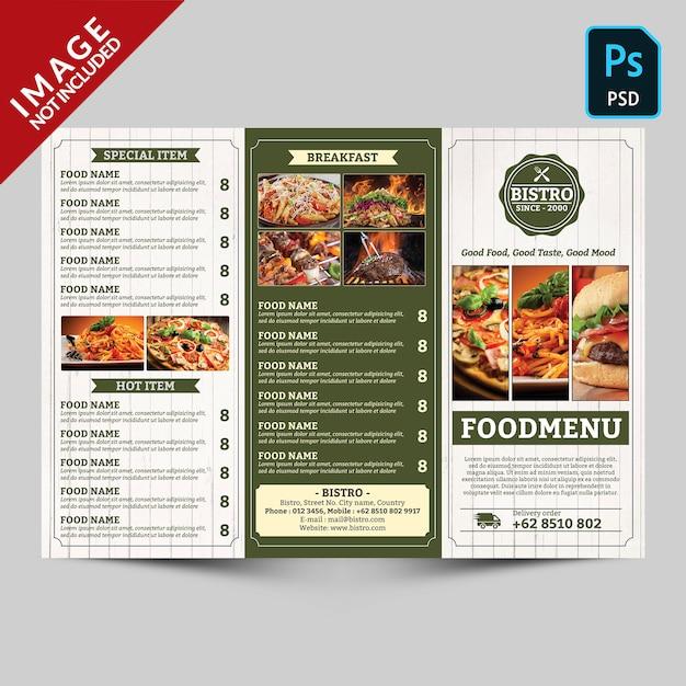 Vintage trifold restaurant menü promotion vorderseite Premium PSD