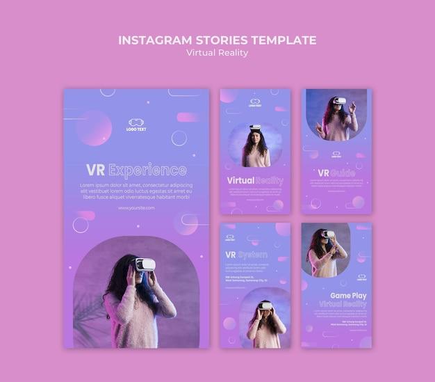 Virtual reality experience instagram geschichten vorlage Premium PSD