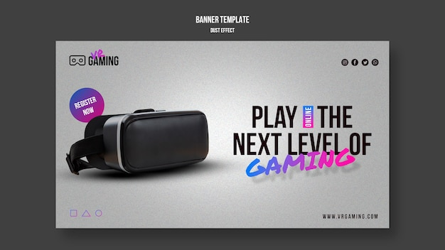 Virtual-reality-gaming-vorlage banner Kostenlosen PSD