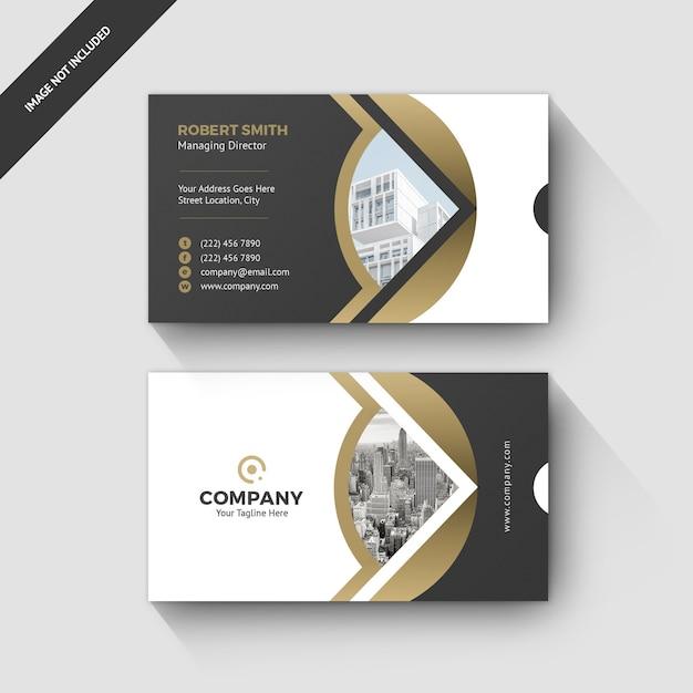 Visitenkarte-eleganter entwurfs-goldentwurf Premium PSD