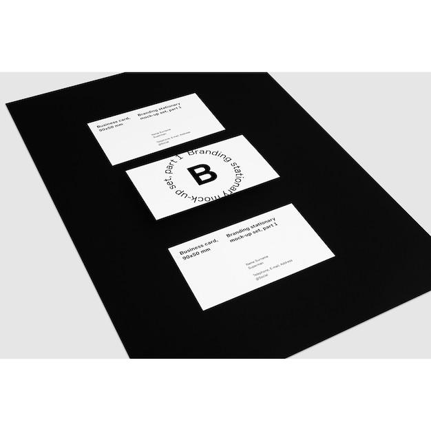 Visitenkarten Auf Schwarzem Hintergrund Mock Up Download