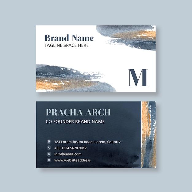 Visitenkartenvorlage mit aquarell brustrokes Kostenlosen PSD