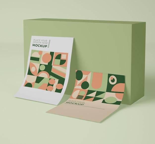 Vorderansicht des papiermodells mit geometrischen formen Kostenlosen PSD