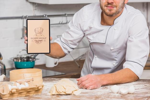 Vorderansicht koch im küchenmodell Kostenlosen PSD