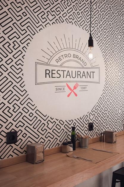 Vorderansicht retro marke restaurant tapete Kostenlosen PSD