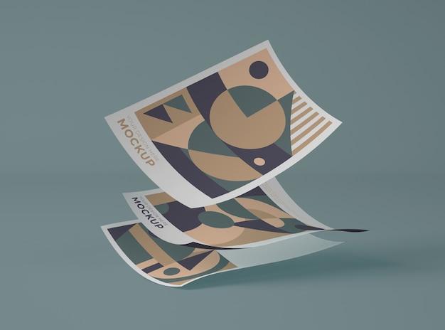 Vorderansicht von papieren mit geometrischen formen Kostenlosen PSD