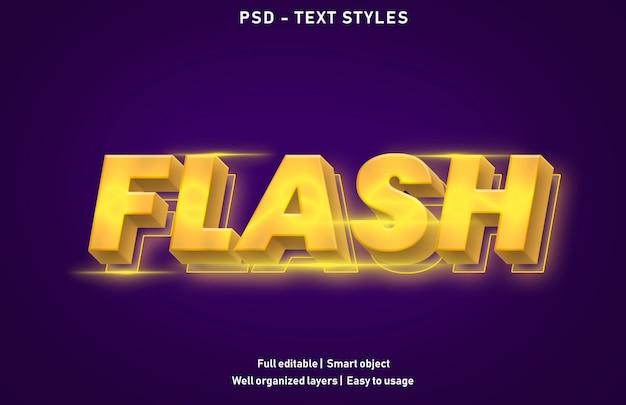Vorlage des flash-texteffekts Premium PSD