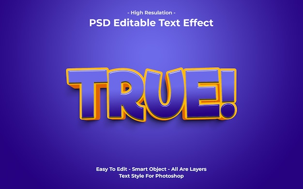 Vorlage des true-text-effekts Premium PSD