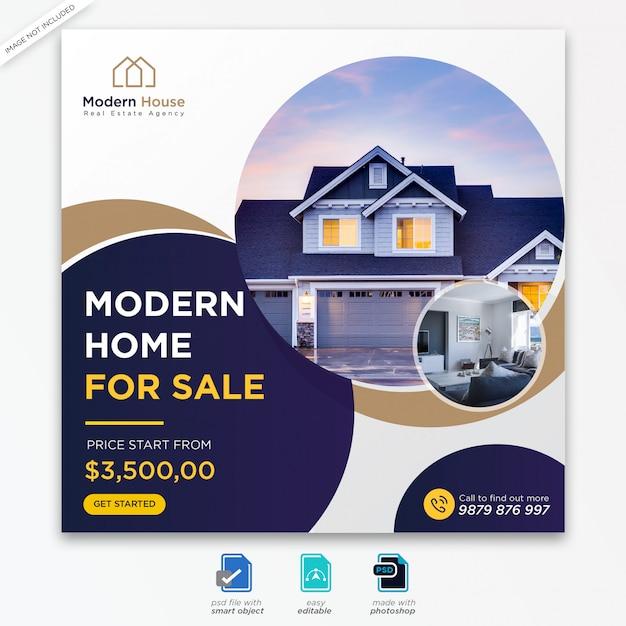 Vorlage für social media-beiträge im immobilien-design Premium PSD
