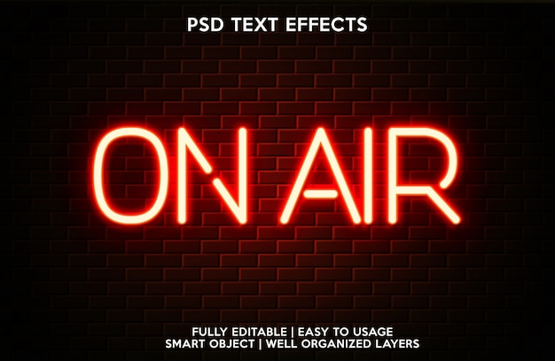 Vorlage für textschrift mit on-air-texteffekt Premium PSD