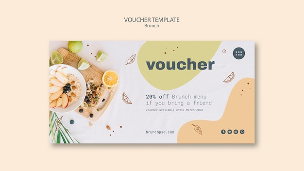 Voucher template design mit 20% rabatt Kostenlosen PSD