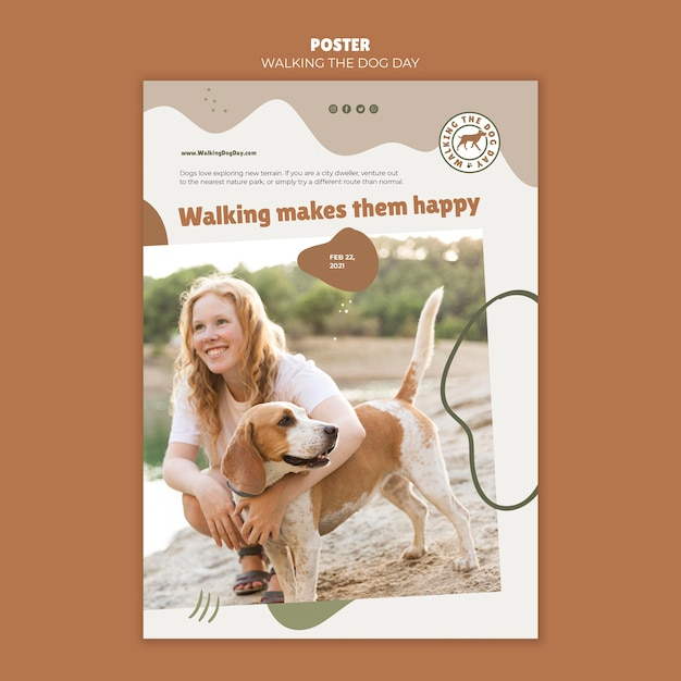 Walking the dog day vorlage poster Kostenlosen PSD