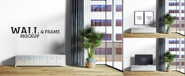 Wand- und rahmenmodell - das wohnzimmer hat einen großen glasschirm Premium PSD