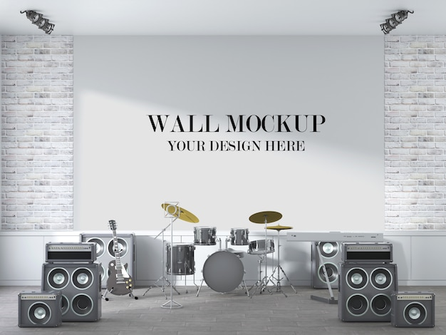 Wandbild der konzertszene mit musikinstrumenten im innenraum Premium PSD