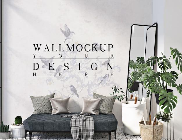 Wandmodell im einfachen modernen wohnzimmer mit sofabank Premium PSD