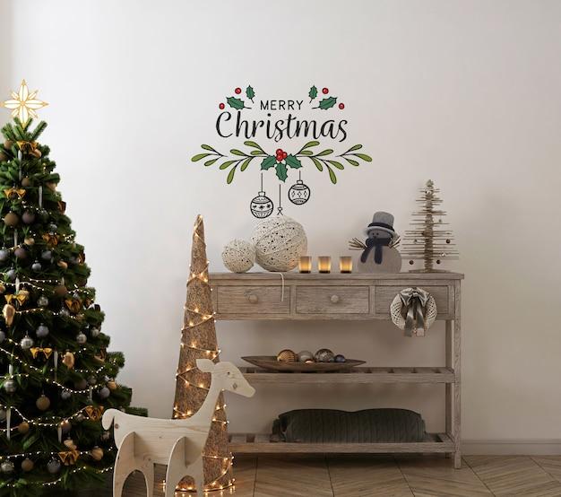 Wandmodell im vintage-interieur mit weihnachtsbaum und dekoration Premium PSD