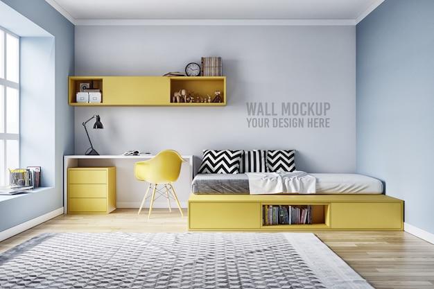 Wandmodell-innenraum scherzt schlafzimmer mit dekorationen Premium PSD