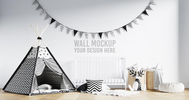 Wandmodell interieur kinderspielzimmer mit dekorationen Premium PSD