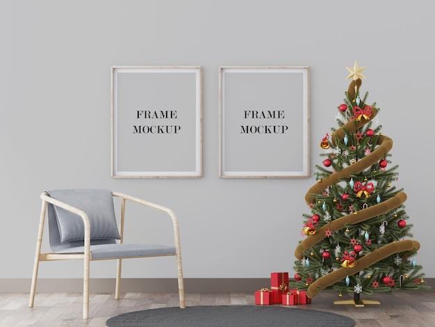 Wandrahmenmodell neben weihnachtsbaum-3d-rendering-modell Premium PSD