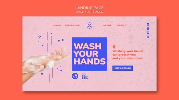 Waschen sie ihre hände landingpage Premium PSD