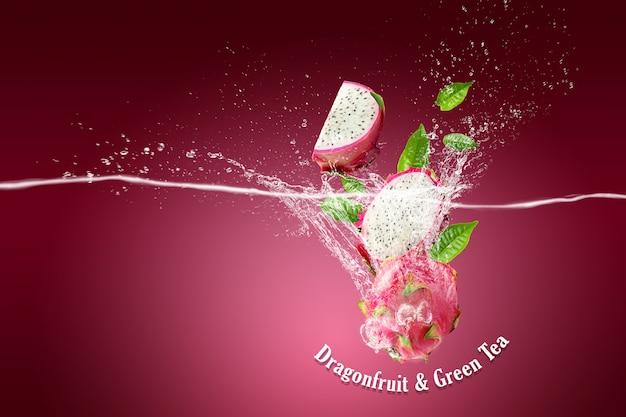 Wasserspritzer auf drachenfrucht oder pitaya auf rosa Premium PSD