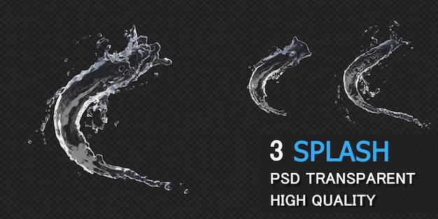 Wasserspritzer mit tröpfchen in der 3d-darstellung isoliert Premium PSD