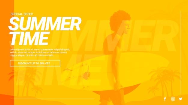 Web-banner-vorlage mit sommerkonzept Kostenlosen PSD