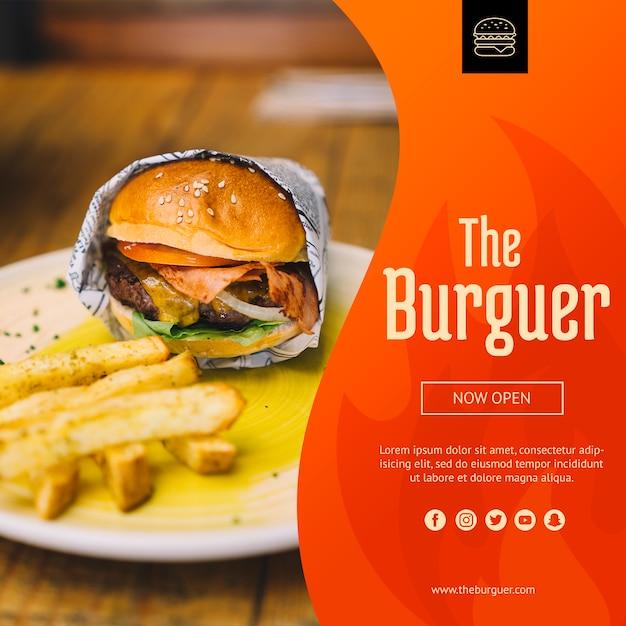 Web-modell mit hamburger konzept Kostenlosen PSD